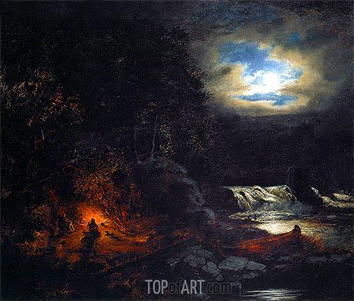 Cornelius Krieghoff | Portage near Falls of Grand'Mere, St. Maurice River, 1855