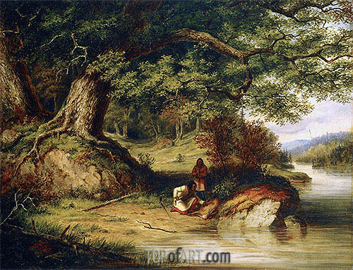 The Hunters, 1854 | Cornelius Krieghoff| Painting Reproduction