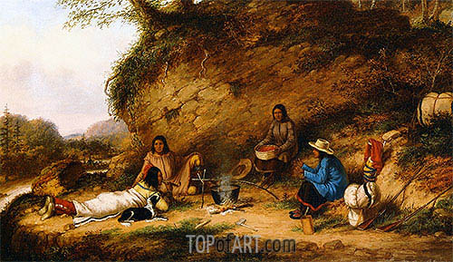 Indian Encampment at Big Rock, c.1853 | Cornelius Krieghoff| Painting Reproduction