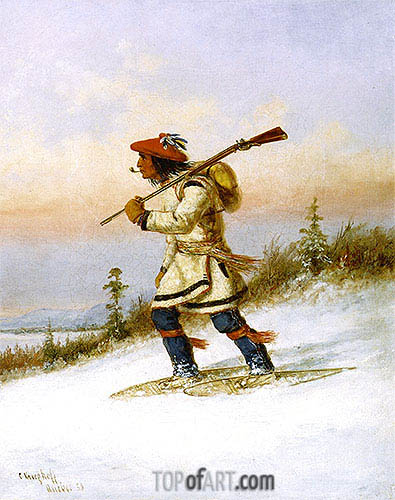 Indian Trapper on Snowshoes, 1858 | Cornelius Krieghoff | Painting Reproduction