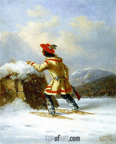 Lorette Caribou Hunter, 1862 | Cornelius Krieghoff| Painting Reproduction