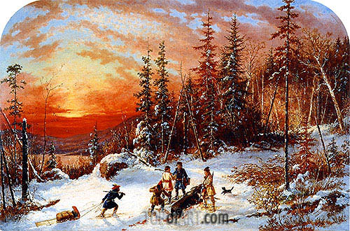 Death of the Moose at Sunset, Lake Famine South of Quebec, 1859 | Cornelius Krieghoff| Painting Reproduction