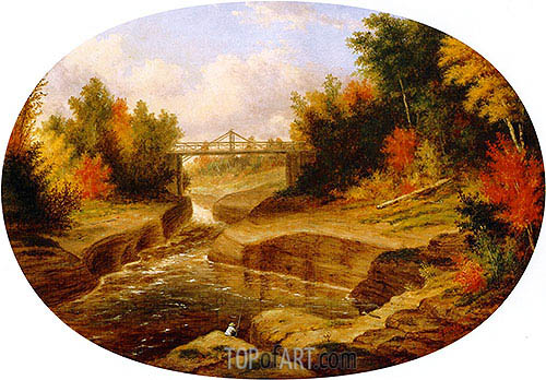 Dery's Bridge, Salmon Leap, Jacques Cartier River, 1863 | Cornelius Krieghoff | Painting Reproduction