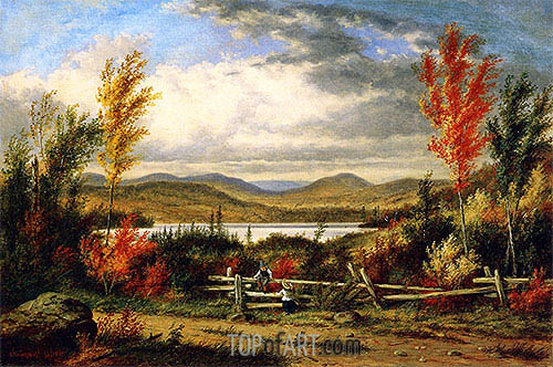 Lac Laurent: Autumn, 1862 | Cornelius Krieghoff| Painting Reproduction