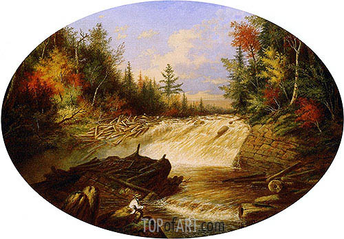 Jam of Sawlogs, Shawinigan Falls, 1861 | Cornelius Krieghoff| Painting Reproduction