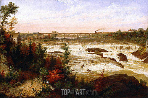 The Tubular Bridge at St. Henry'a Falls, 1858 | Cornelius Krieghoff | Gemälde Reproduktion
