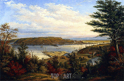 View of Quebec from the Grand Trunk Railway Station at Pointe-Lévis, 1856 | Cornelius Krieghoff| Painting Reproduction