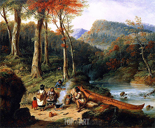 Huron Indians at Portage, 1850 | Cornelius Krieghoff| Painting Reproduction
