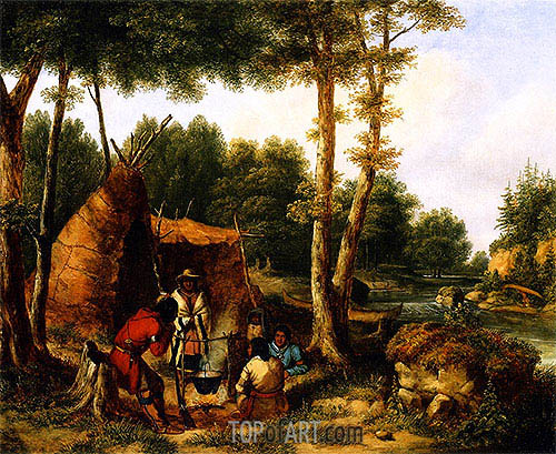 Indian Encampment by a River, c.1850 | Cornelius Krieghoff | Painting Reproduction