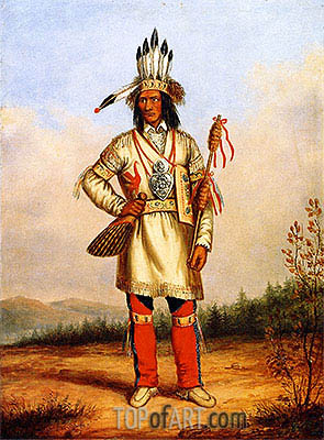 Chief Tanaghte, Delegate to Lord Elgin at Montreal, c.1849 | Cornelius Krieghoff | Gemälde Reproduktion