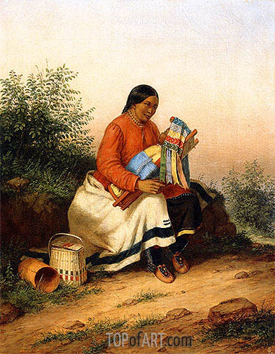 Caughnawaga Woman and Baby, c.1849 | Cornelius Krieghoff| Painting Reproduction