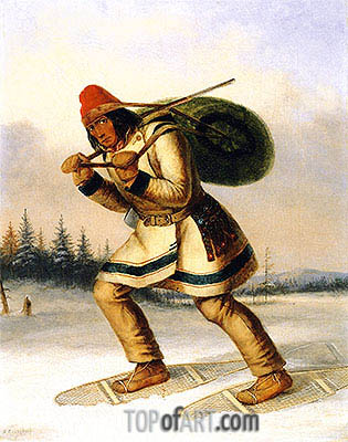 Indian Trapper on Snowshoes, c.1849 | Cornelius Krieghoff | Painting Reproduction