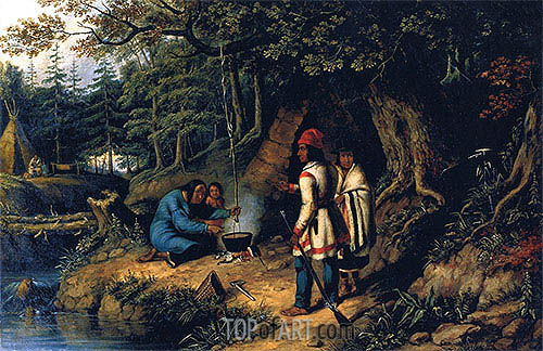 A Caughnawaga Indian Encampment, c.1848 | Cornelius Krieghoff | Painting Reproduction