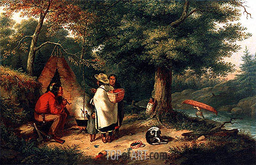 Caughnawaga Indian Encampment at a Portage, c.1844 | Cornelius Krieghoff| Painting Reproduction