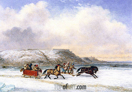 Sleigh Race on the St. Lawrence at Quebec, 1852 | Cornelius Krieghoff| Gemälde Reproduktion