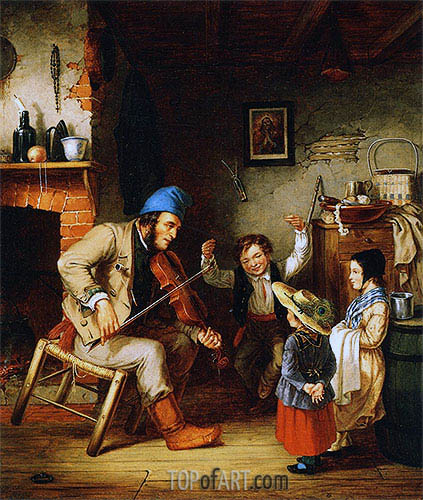 Fiddler and Boy Doing Jig, 1852 | Cornelius Krieghoff | Painting Reproduction