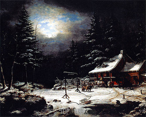 White Horse Inn by Moonlight, 1851 | Cornelius Krieghoff| Gemälde Reproduktion