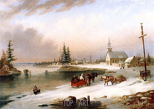 Cornelius Krieghoff | Village Scene in Winter, 1850
