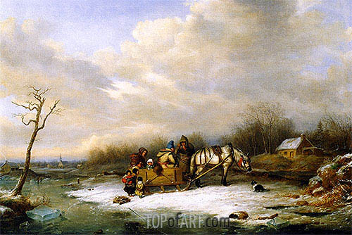 Habitant Family with Horse and Sleigh, 1850 | Cornelius Krieghoff| Painting Reproduction
