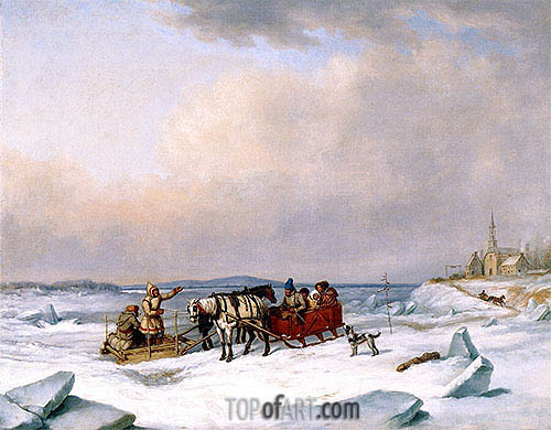 The Ice Bridge at Longue-Pointe, c.1848 | Cornelius Krieghoff| Gemälde Reproduktion