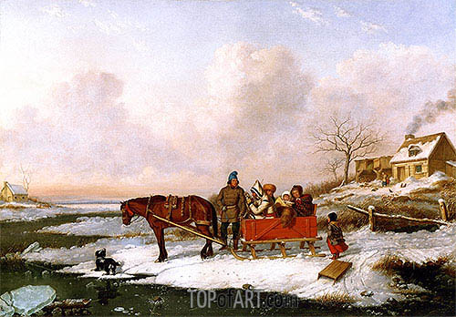 Habitant Sleigh, View near the Canada Line, c.1847 | Cornelius Krieghoff| Painting Reproduction