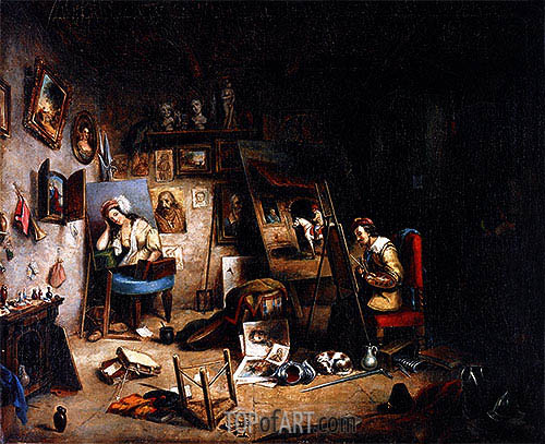 The Artist's Studio, c.1845 | Cornelius Krieghoff| Painting Reproduction