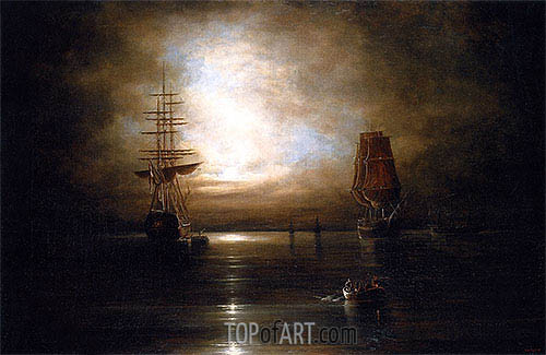 Marine View - Moonlight, c.1845 | Cornelius Krieghoff| Painting Reproduction