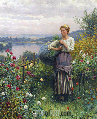 The Rose Garden,  | Daniel Ridgway Knight | Gemälde Reproduktion
