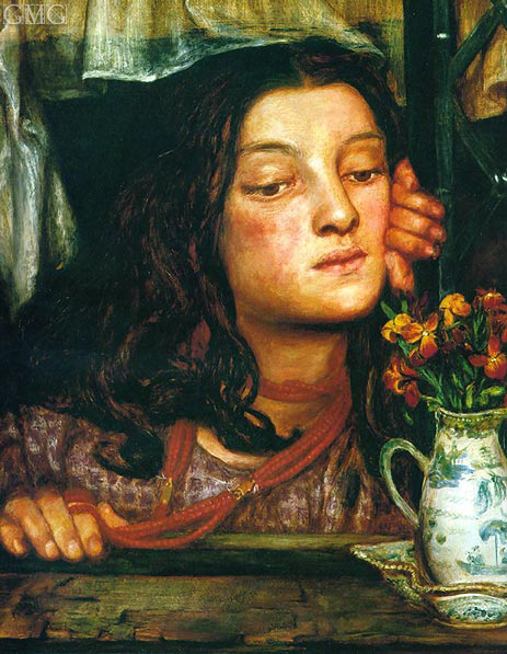 Girl at a Lattice, 1862 | Rossetti | Painting Reproduction