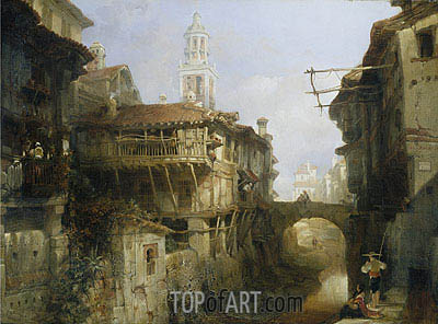 David Roberts | Old Buildings on the Darro, Granada, 1834