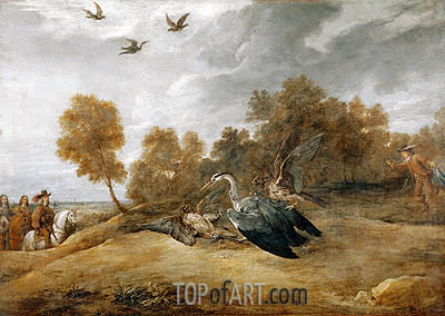 Archduke Leopold Wilhelm Hunting Herons with Falcons, undated | David Teniers | Painting Reproduction
