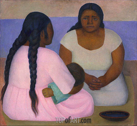 Two Women and a Child, 1926 | Diego Rivera | Gemälde Reproduktion