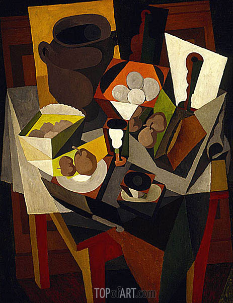 Still Life with Bread and Fruit, 1917 | Diego Rivera | Gemälde Reproduktion