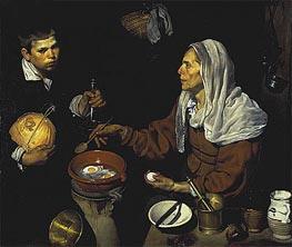 An Old Woman Cooking Eggs, 1618 von Velazquez | Gemälde-Reproduktion