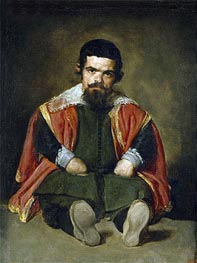 The Buffoon Sebastian de Morra, c.1646 by Velazquez | Painting Reproduction