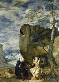 Saint Anthony the Abbot and Saint Paul the First Hermit, c.1634 by Velazquez | Painting Reproduction