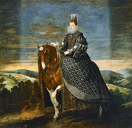 Queen Margarita de Austria on Horseback, c.1635 by Velazquez | Painting Reproduction