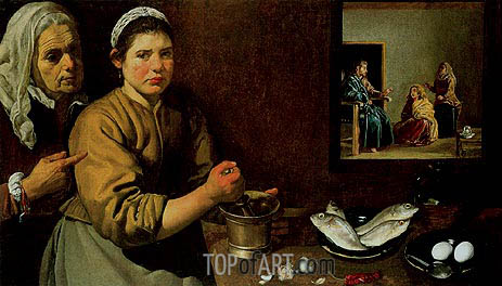 Velazquez | Christ in the House of Martha and Mary, 1618