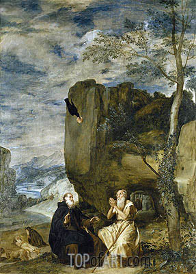 Saint Anthony the Abbot and Saint Paul the First Hermit, c.1634 | Velazquez| Painting Reproduction