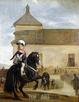 Prince Balthasar Carlos in the Riding School, c.1640/45 | Velazquez | Painting Reproduction