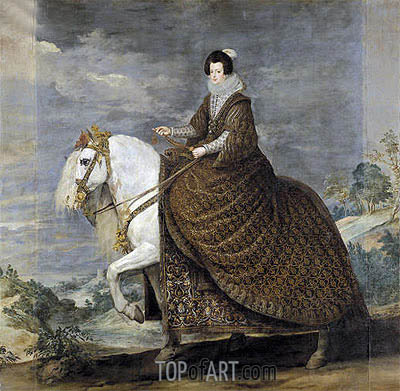 Velazquez | Queen Isabel de Bourbon, wife of Felipe IV on Horseback, c.1635/36