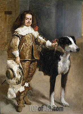 Velazquez | Portrait of a Buffoon with a Dog, c.1650