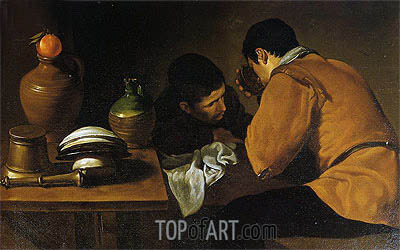 Two Men at Table, c.1620/21 | Velazquez | Painting Reproduction