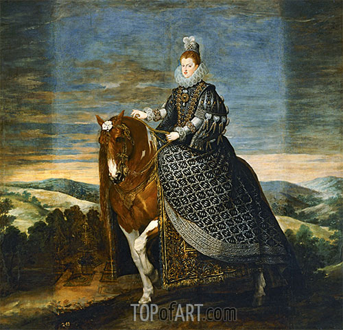 Queen Margarita de Austria on Horseback, c.1635 | Velazquez | Painting Reproduction