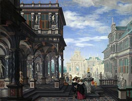 An Architectural Fantasy, 1634 by Dirck van Delen | Painting Reproduction