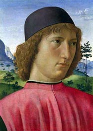 Portrait of a Young Man in Red, c.1480/90 von Ghirlandaio | Gemälde-Reproduktion