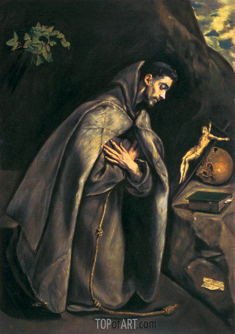 St Francis Venerating the Crucifix, c.1595 | El Greco | Painting Reproduction