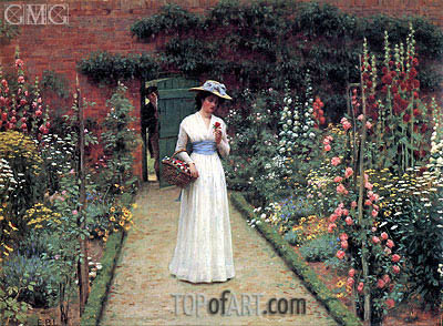 Blair Leighton | Lady in a Garden, undated