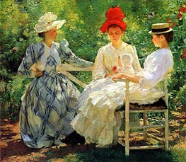 In a Garden, Undated by Edmund Charles Tarbell | Painting Reproduction