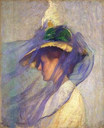 The Blue Veil, 1898 by Edmund Charles Tarbell | Painting Reproduction